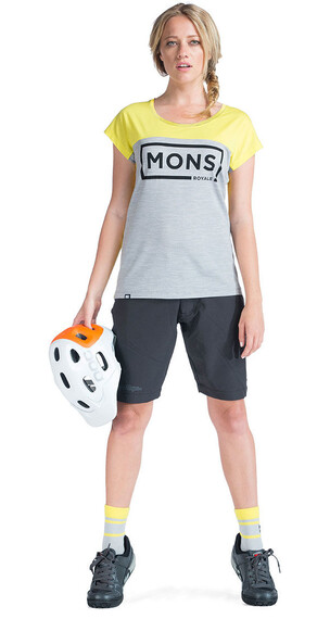 Mons Royale W's Cap Tee Yellow / Grey Marl